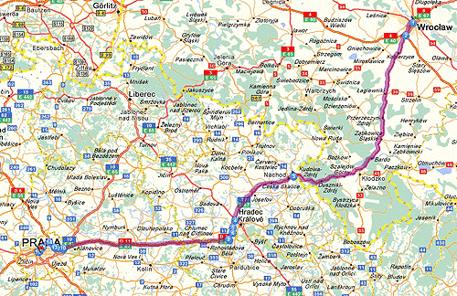 Wroclaw (PL) - Prague (CZ). Dist. 285 km