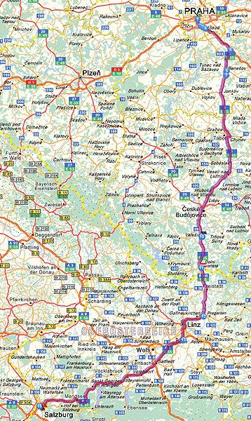 Prague (CZ) - Salzburg (A). Dist. 385 km