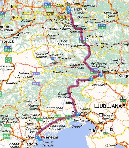 Salzburg (A) - Venice (I). Dist. 439 km